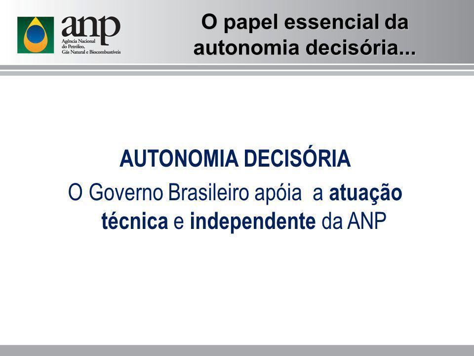 O papel essencial da autonomia decisória... AUTONOMIA DECISÓRIA O Governo Brasileiro apóia a atuação técnica e independente da ANP