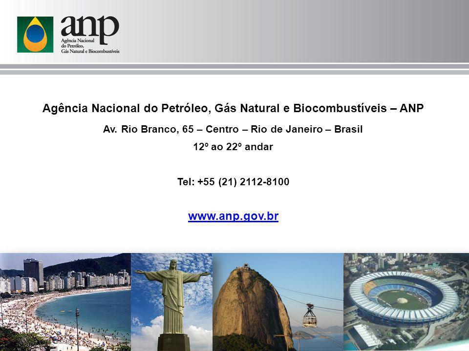 Agência Nacional do Petróleo, Gás Natural e Biocombustíveis – ANP Av. Rio Branco, 65 – Centro – Rio de Janeiro – Brasil 12º ao 22º andar Tel: +55 (21)