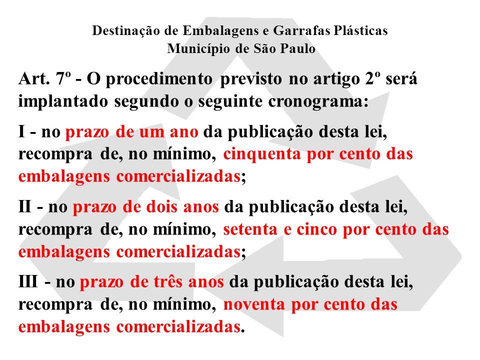 Destinação de Embalagens e Garrafas Plásticas Município de São Paulo Art. 7º - O procedimento previsto no artigo 2º será implantado segundo o seguinte