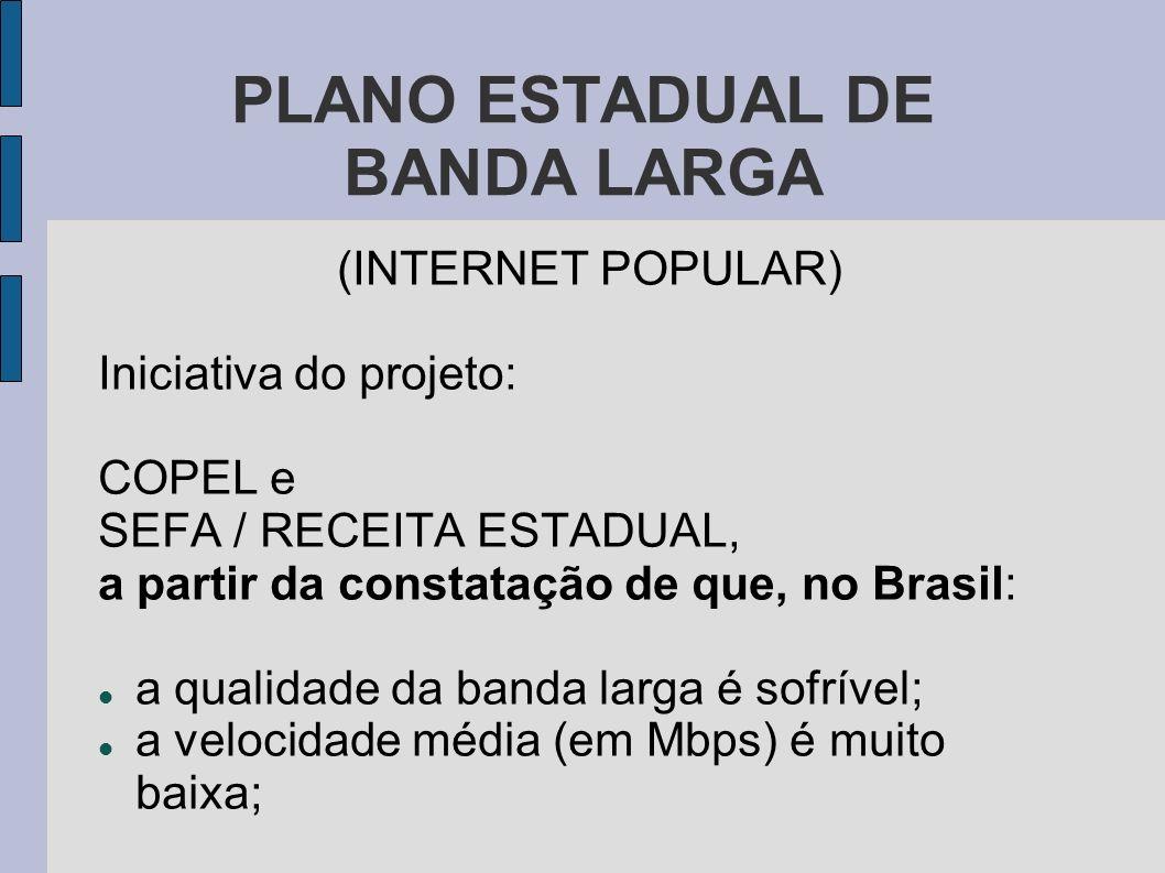 PLANO ESTADUAL DE BANDA LARGA (INTERNET POPULAR) a banda larga atinge um porcentual muito reduzido da população; o valor cobrado pela banda larga no Brasil é absurdamente elevado (pela qualidade do serviço ofertado).