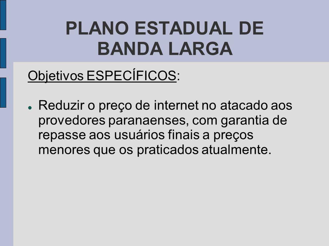 PLANO ESTADUAL DE BANDA LARGA Responsabilidade da COPEL: Ser o INDUTOR / FOMENTADOR do plano, através da sua subsidiária COPEL TELECOMUNICAÇÕES.