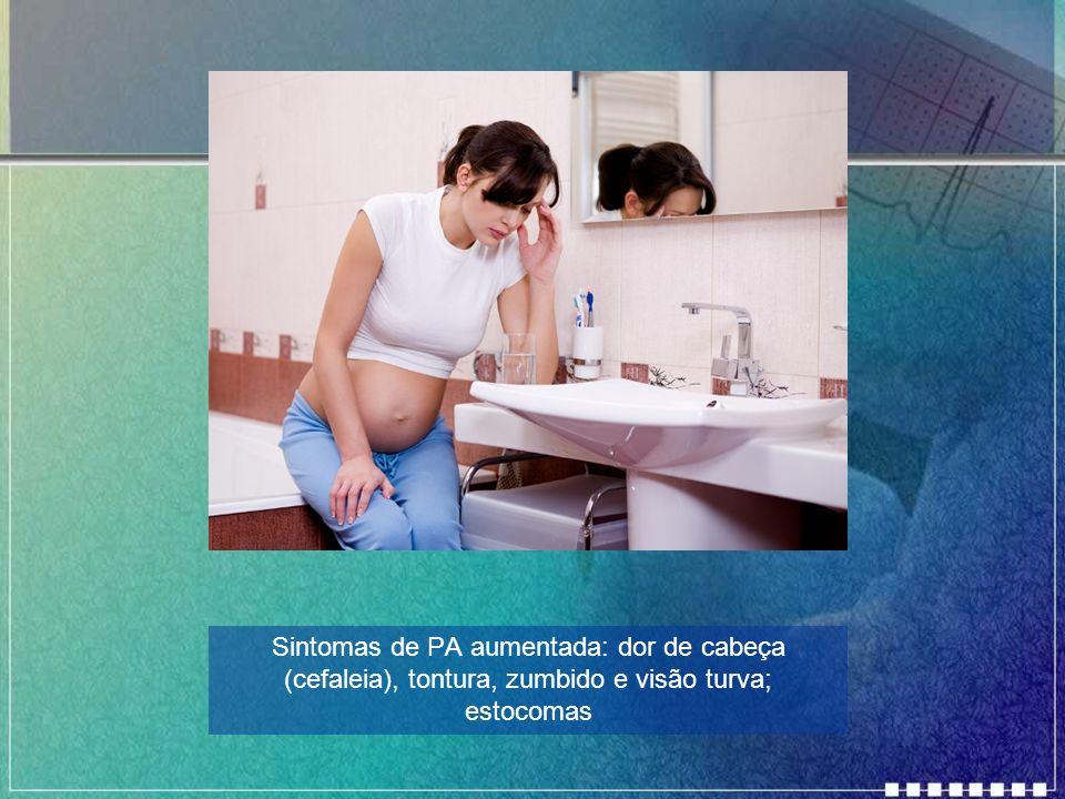 Sintomas de PA aumentada: dor de cabeça (cefaleia), tontura, zumbido e visão turva; estocomas