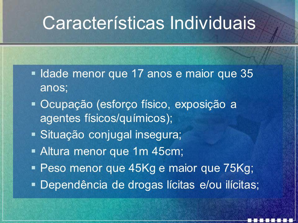 Características Individuais Idade menor que 17 anos e maior que 35 anos; Ocupação (esforço físico, exposição a agentes físicos/químicos); Situação con