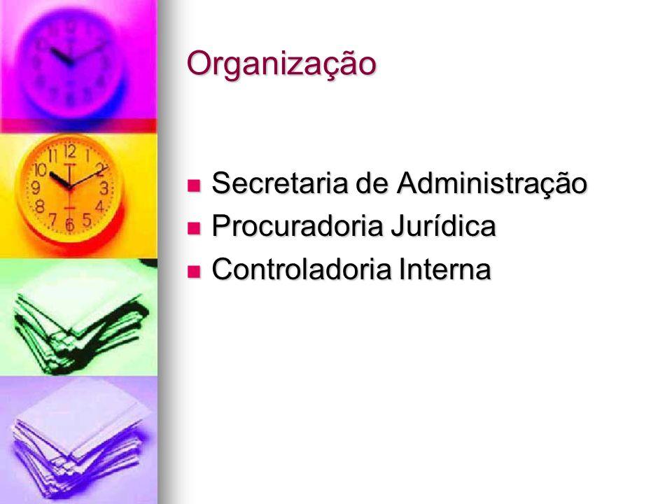 Organização Secretaria de Administração Secretaria de Administração Procuradoria Jurídica Procuradoria Jurídica Controladoria Interna Controladoria In