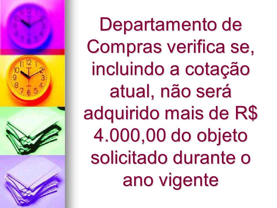 Caso o objeto NÃO se enquadre no limite de R$ 4.000,00 será enviado à Coordenadoria de Licitações e Contratos para abertura de Processo Administrativo Licitatório