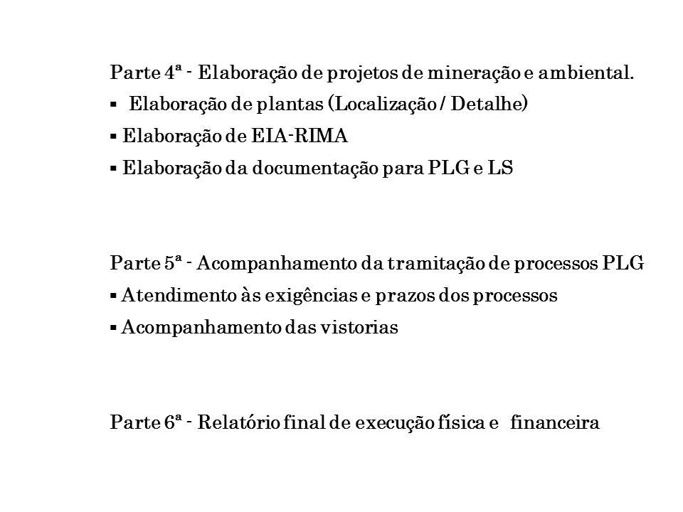 Parte 4ª - Elaboração de projetos de mineração e ambiental. Elaboração de plantas (Localização / Detalhe) Elaboração de EIA-RIMA Elaboração da documen