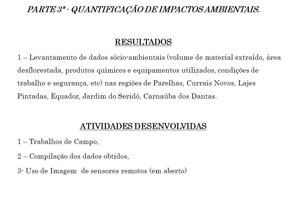 PARTE 3ª - QUANTIFICAÇÃO DE IMPACTOS AMBIENTAIS. RESULTADOS 1 – Levantamento de dados sócio-ambientais (volume de material extraído, área desflorestad