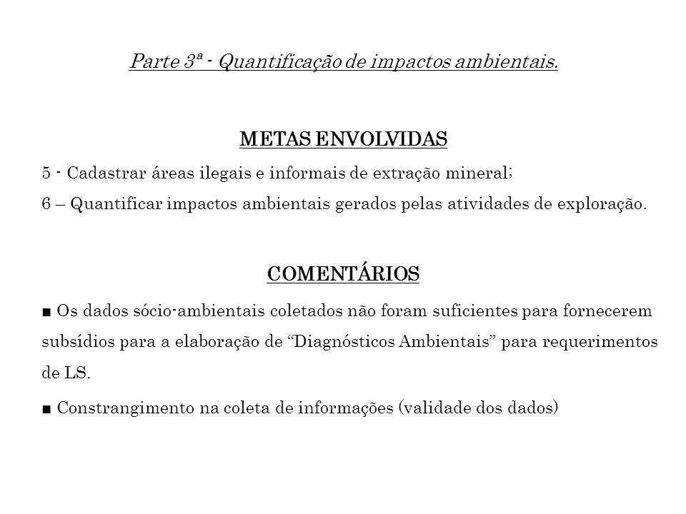 Parte 3ª - Quantificação de impactos ambientais. METAS ENVOLVIDAS 5 - Cadastrar áreas ilegais e informais de extração mineral; 6 – Quantificar impacto