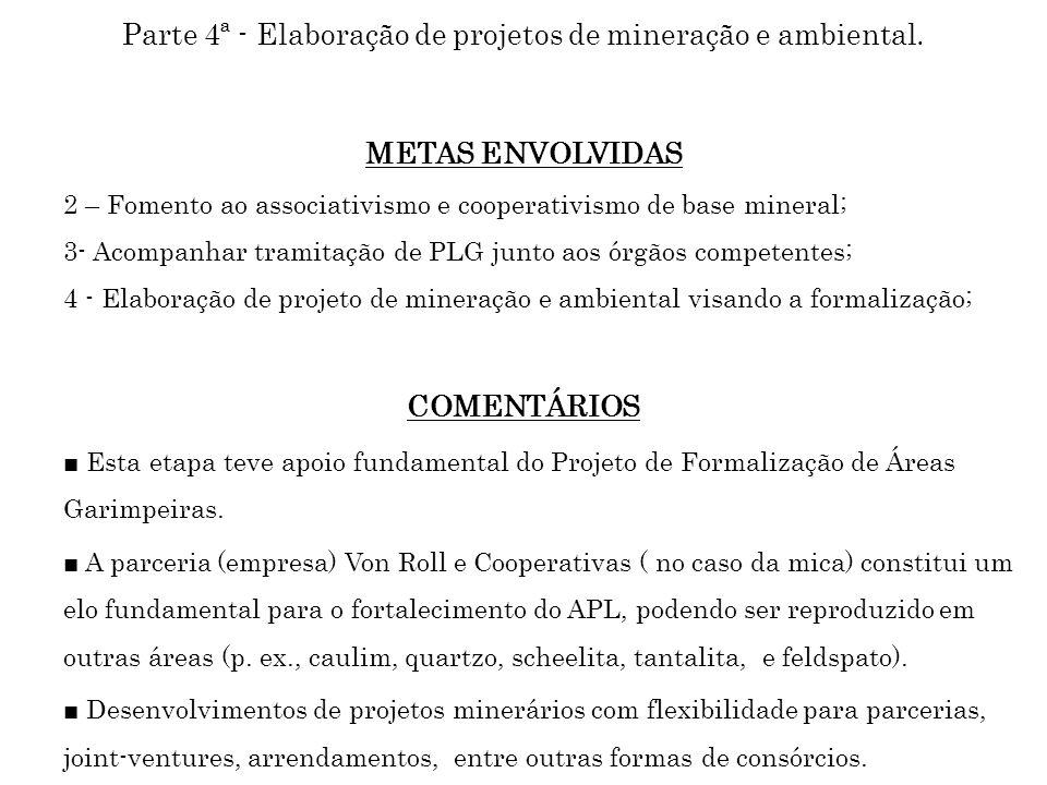 Parte 4ª - Elaboração de projetos de mineração e ambiental. METAS ENVOLVIDAS 2 – Fomento ao associativismo e cooperativismo de base mineral; 3- Acompa