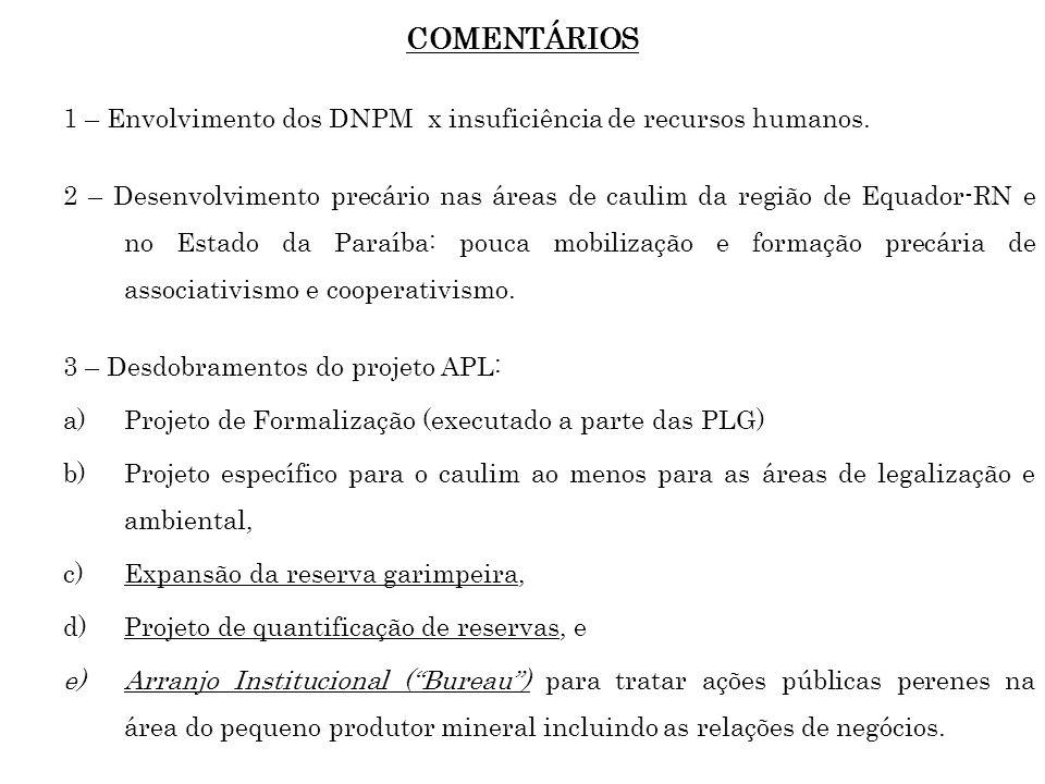 COMENTÁRIOS 1 – Envolvimento dos DNPM x insuficiência de recursos humanos. 2 – Desenvolvimento precário nas áreas de caulim da região de Equador-RN e