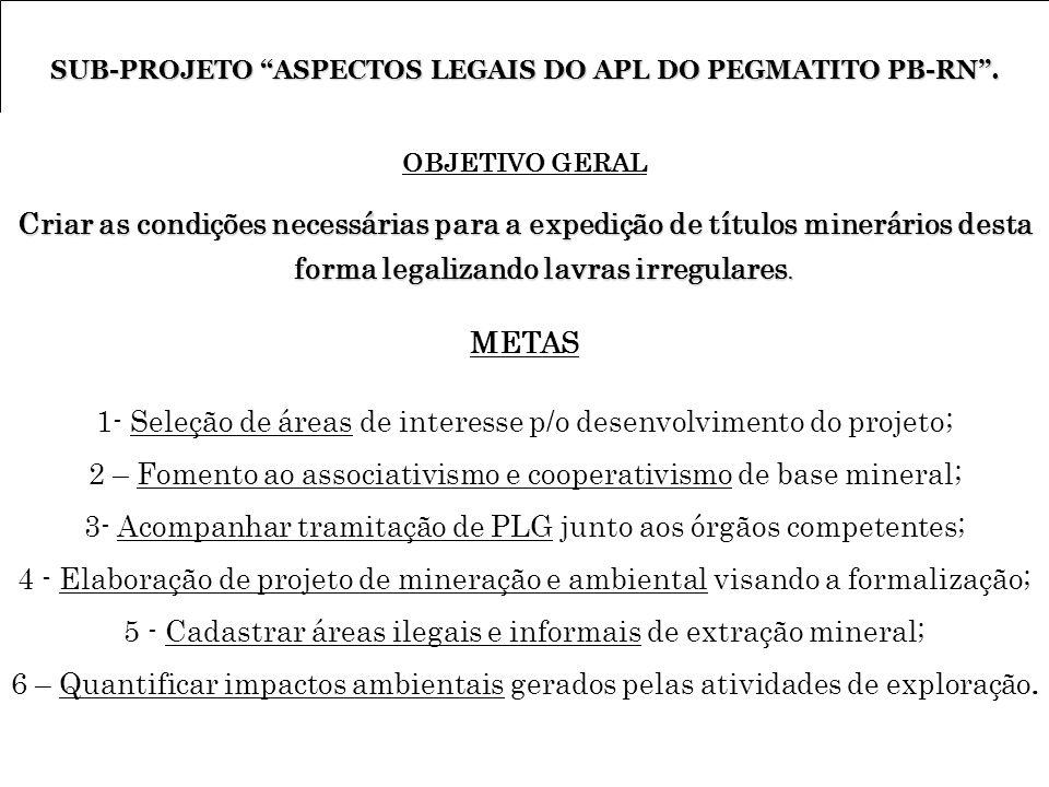 SUB-PROJETO ASPECTOS LEGAIS DO APL DO PEGMATITO PB-RN. OBJETIVO GERAL Criar as condições necessárias para a expedição de títulos minerários desta form
