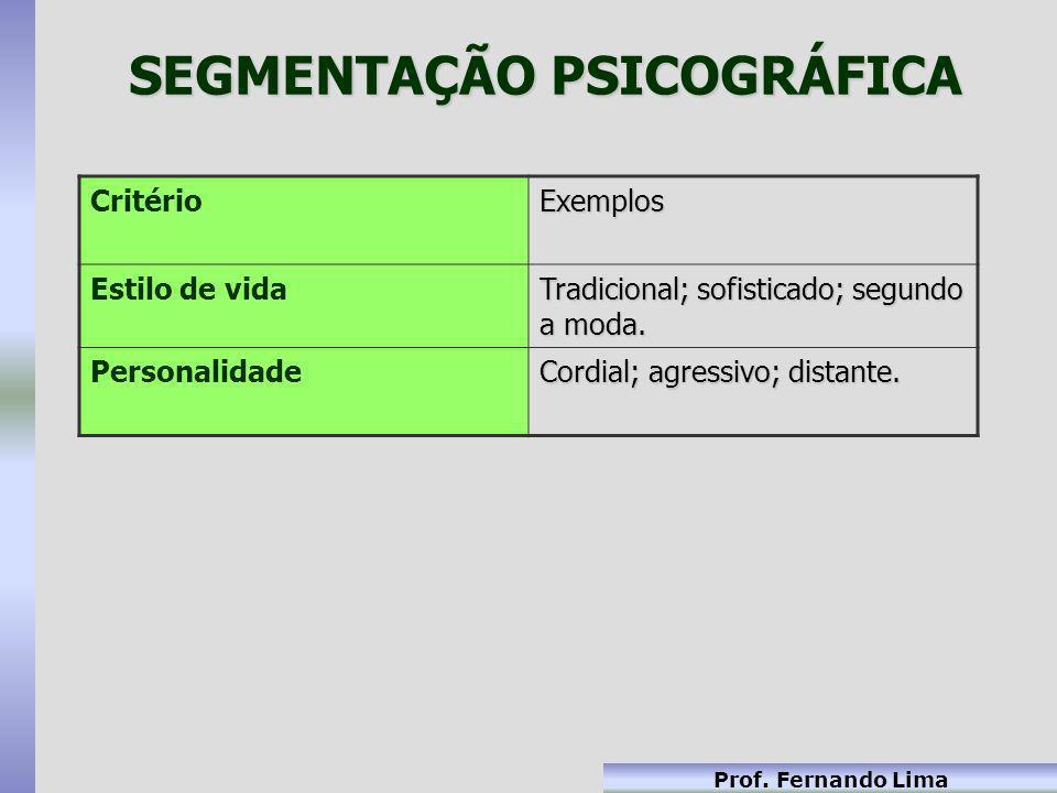 Prof. Fernando Lima SEGMENTAÇÃO PSICOGRÁFICA CritérioExemplos Estilo de vida Tradicional; sofisticado; segundo a moda. Personalidade Cordial; agressiv