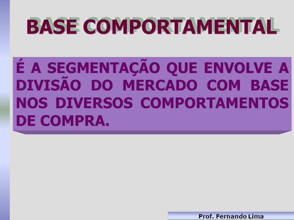 Prof. Fernando Lima BASE COMPORTAMENTAL É A SEGMENTAÇÃO QUE ENVOLVE A DIVISÃO DO MERCADO COM BASE NOS DIVERSOS COMPORTAMENTOS DE COMPRA.