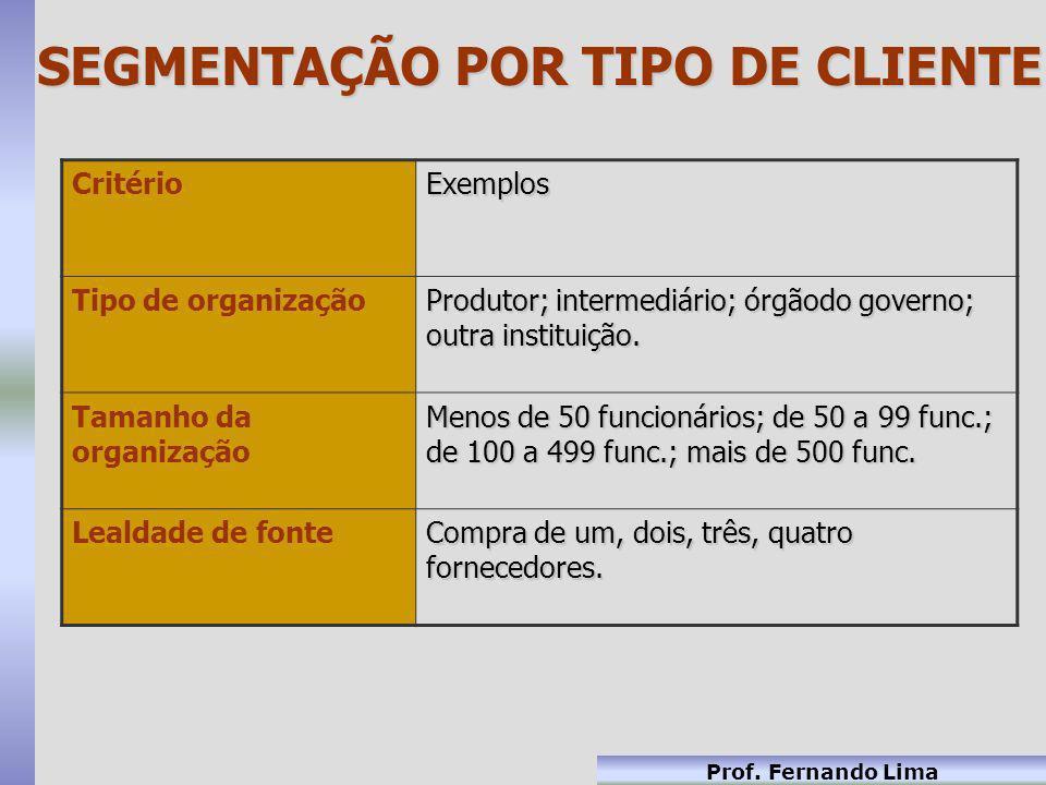 Prof. Fernando Lima CritérioExemplos Tipo de organização Produtor; intermediário; órgãodo governo; outra instituição. Tamanho da organização Menos de