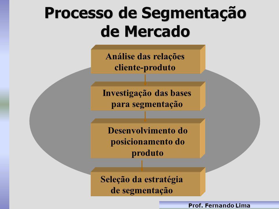 Prof. Fernando Lima Processo de Segmentação de Mercado Análise das relações cliente-produto Investigação das bases para segmentação Desenvolvimento do
