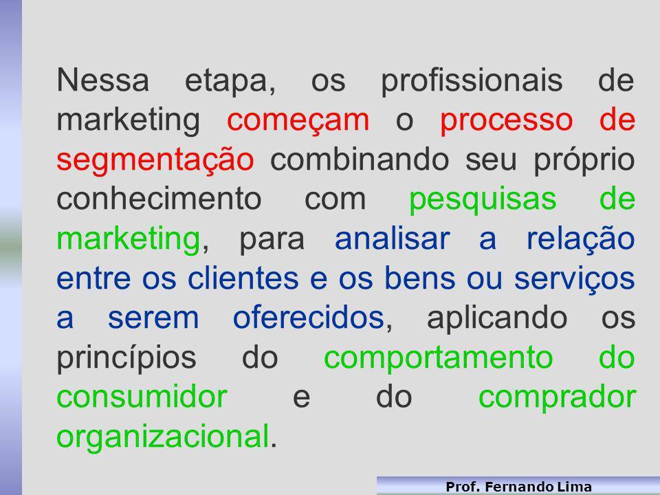 Prof. Fernando Lima Nessa etapa, os profissionais de marketing começam o processo de segmentação combinando seu próprio conhecimento com pesquisas de