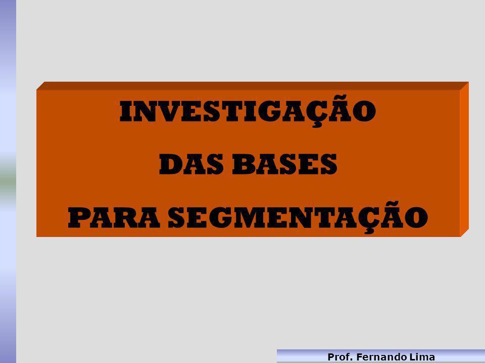 Prof. Fernando Lima INVESTIGAÇÃO DAS BASES PARA SEGMENTAÇÃO