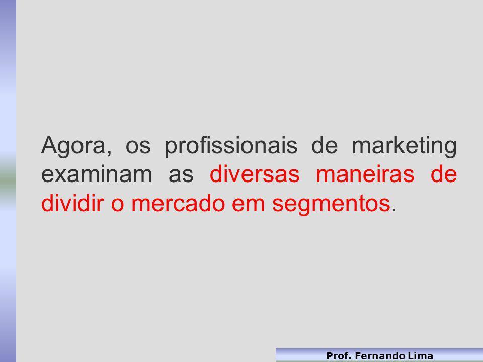Prof. Fernando Lima Agora, os profissionais de marketing examinam as diversas maneiras de dividir o mercado em segmentos.