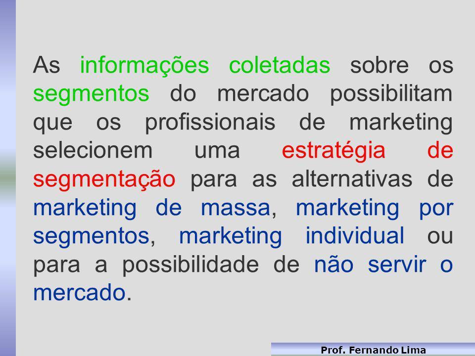 Prof. Fernando Lima As informações coletadas sobre os segmentos do mercado possibilitam que os profissionais de marketing selecionem uma estratégia de