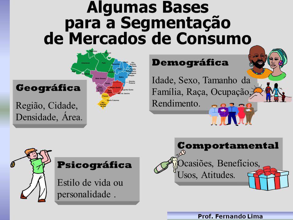Prof. Fernando Lima Geográfica Região, Cidade, Densidade, Área. Geográfica Região, Cidade, Densidade, Área. Psicográfica Estilo de vida ou personalida