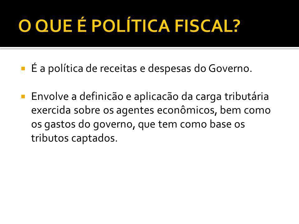 É a política de receitas e despesas do Governo. Envolve a definicão e aplicacão da carga tributária exercida sobre os agentes econômicos, bem como os