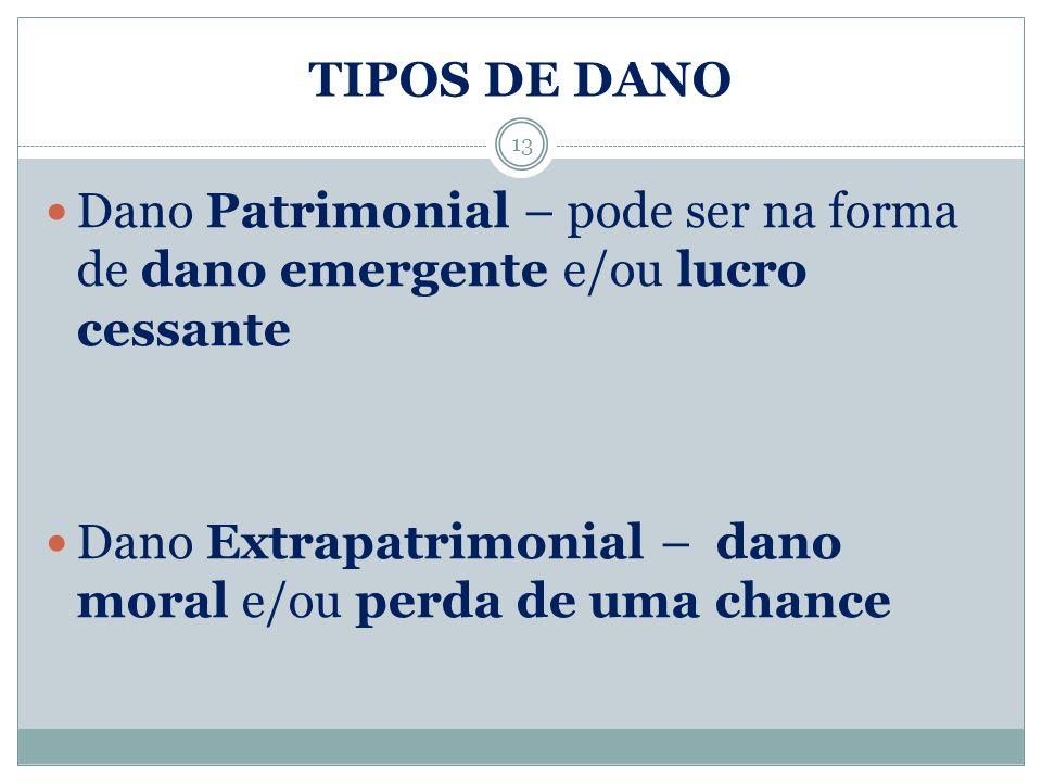 TIPOS DE DANO Dano Patrimonial – pode ser na forma de dano emergente e/ou lucro cessante Dano Extrapatrimonial – dano moral e/ou perda de uma chance 1