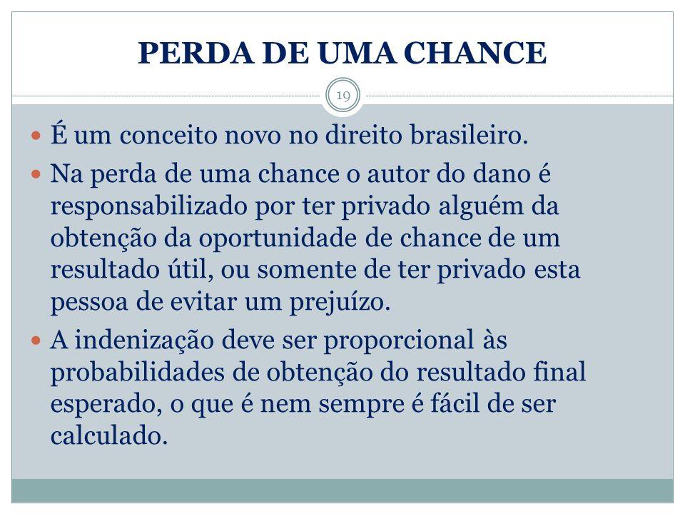 PERDA DE UMA CHANCE É um conceito novo no direito brasileiro. Na perda de uma chance o autor do dano é responsabilizado por ter privado alguém da obte