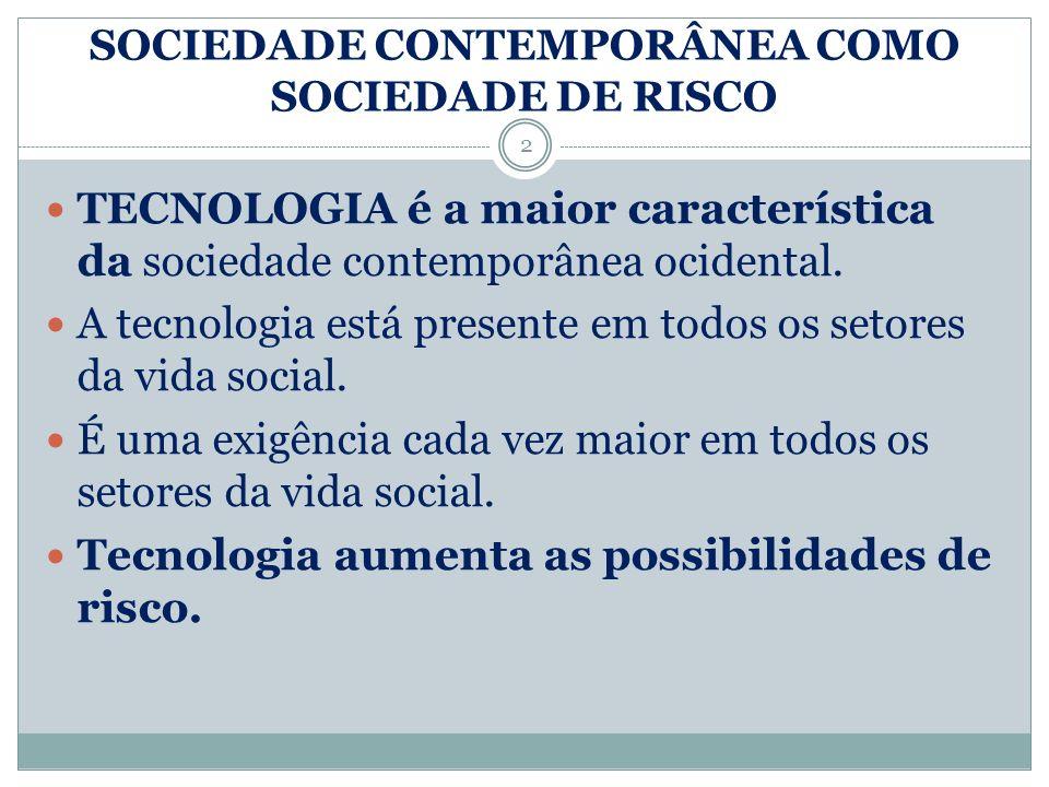 PRINCIPAIS CARACTERÍSTICAS DE UMA SOCIEDADE DE RISCO Riscos decorrentes da tecnologia.