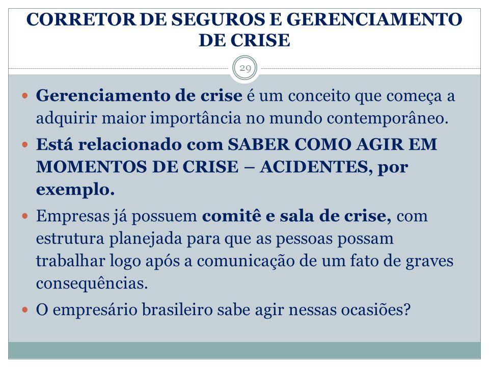 CORRETOR DE SEGUROS E GERENCIAMENTO DE CRISE 29 Gerenciamento de crise é um conceito que começa a adquirir maior importância no mundo contemporâneo. E
