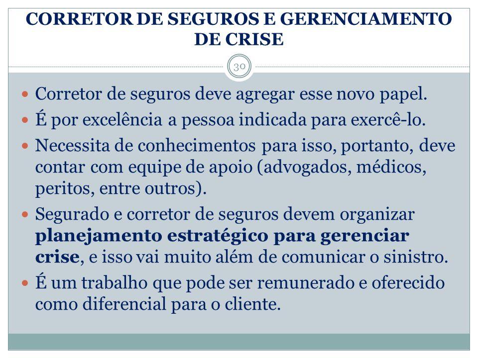 CORRETOR DE SEGUROS E GERENCIAMENTO DE CRISE 30 Corretor de seguros deve agregar esse novo papel. É por excelência a pessoa indicada para exercê-lo. N