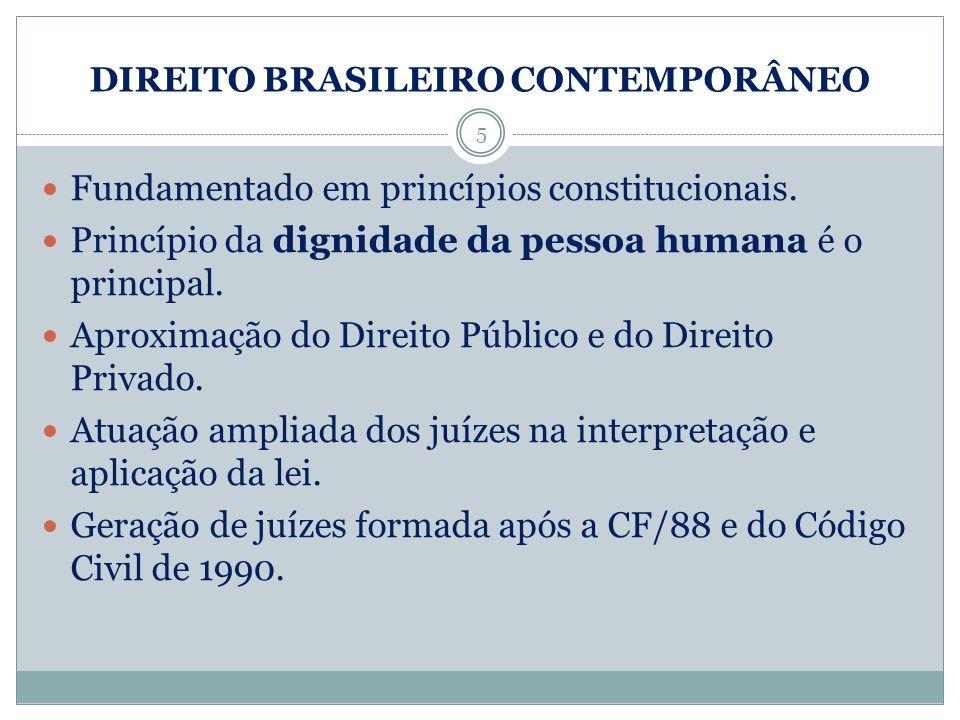 DIREITO BRASILEIRO CONTEMPORÂNEO 5 Fundamentado em princípios constitucionais. Princípio da dignidade da pessoa humana é o principal. Aproximação do D