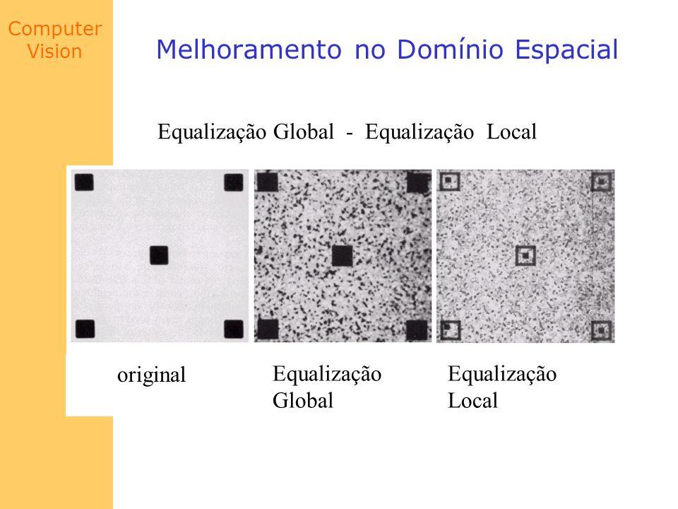 Computer Vision Melhoramento no Domínio Espacial Equalização Global - Equalização Local original Equalização Global Equalização Local