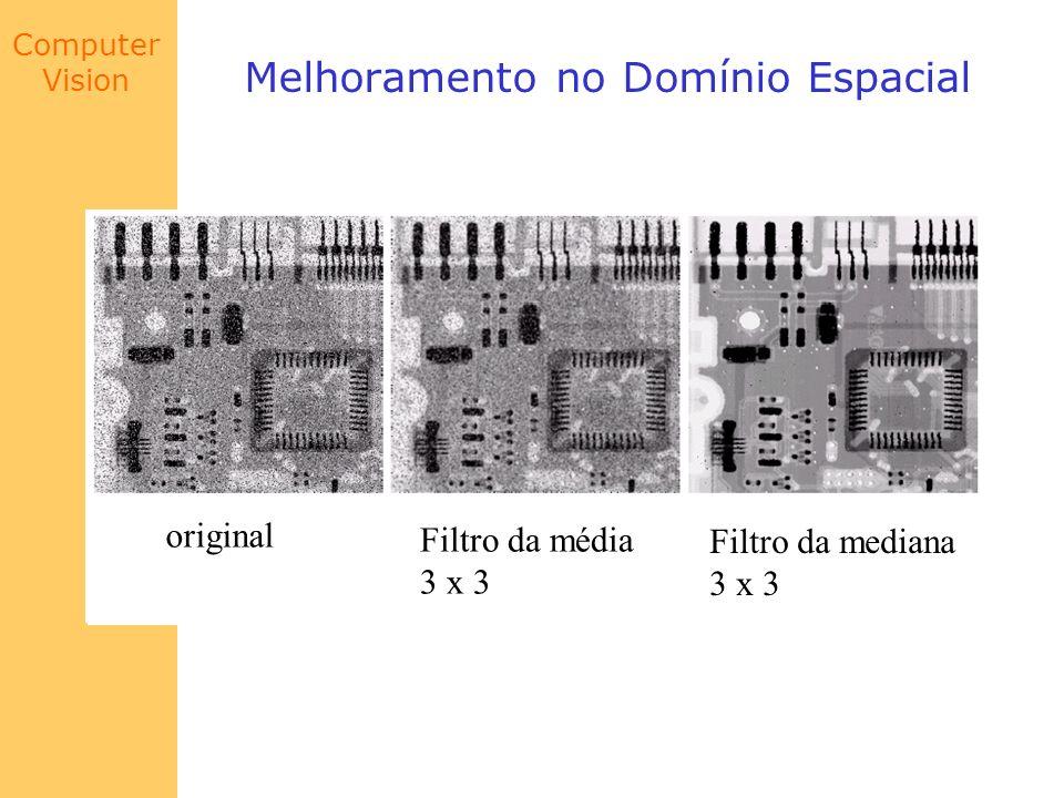 Computer Vision Melhoramento no Domínio Espacial original Filtro da média 3 x 3 Filtro da mediana 3 x 3