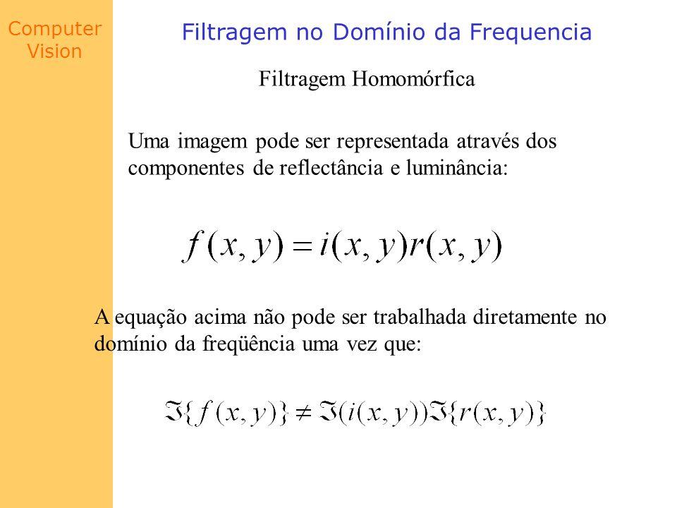 Computer Vision Filtragem no Domínio da Frequencia Filtragem Homomórfica Uma imagem pode ser representada através dos componentes de reflectância e lu