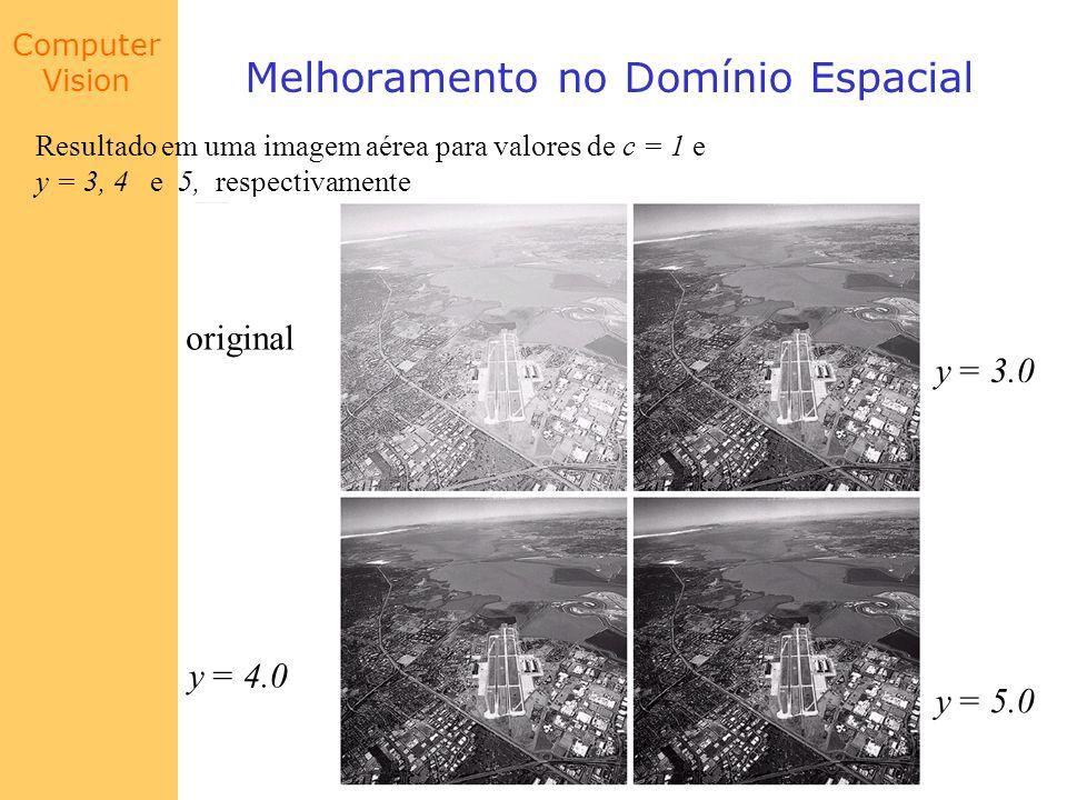 Computer Vision Melhoramento no Domínio Espacial Resultado em uma imagem aérea para valores de c = 1 e y = 3, 4 e 5, respectivamente y = 3.0 y = 5.0 y