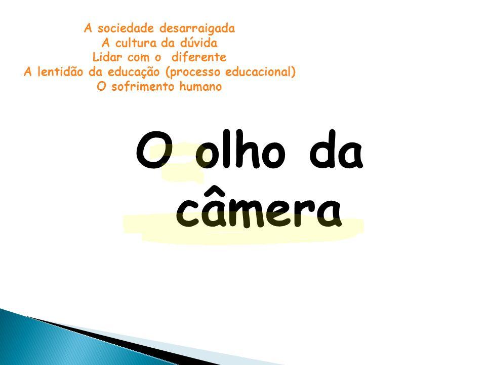 O olho da câmera A sociedade desarraigada A cultura da dúvida Lidar com o diferente A lentidão da educação (processo educacional) O sofrimento humano