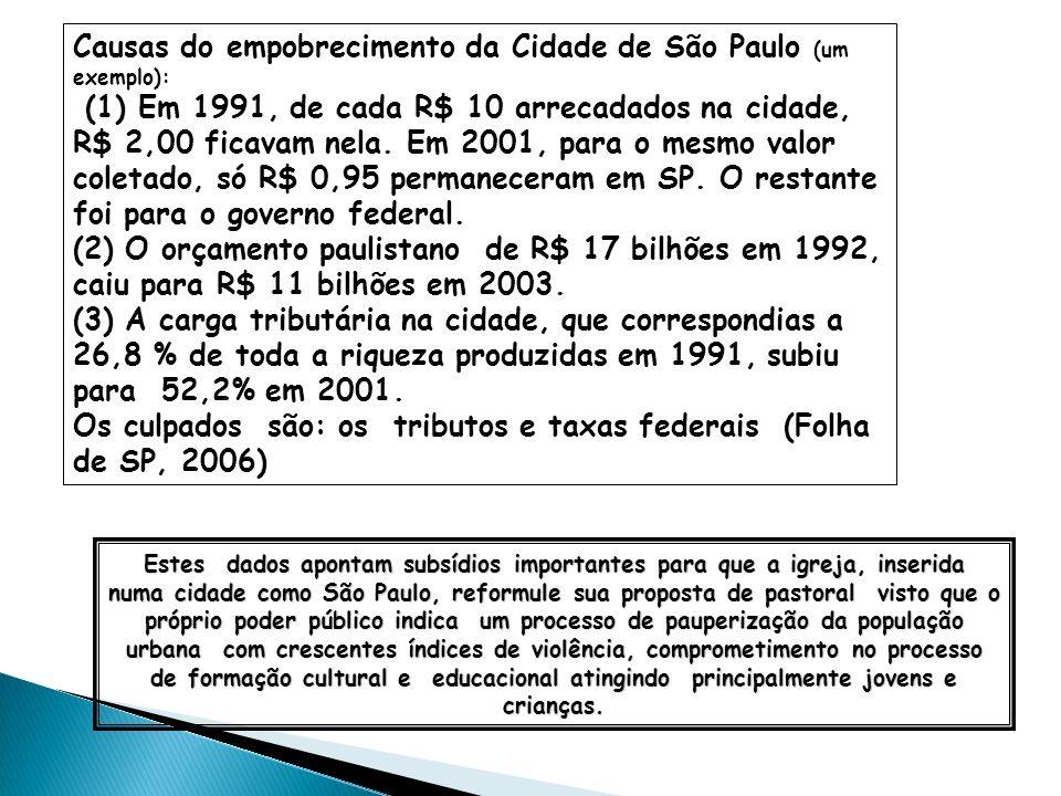 Estes dados apontam subsídios importantes para que a igreja, inserida numa cidade como São Paulo, reformule sua proposta de pastoral visto que o própr