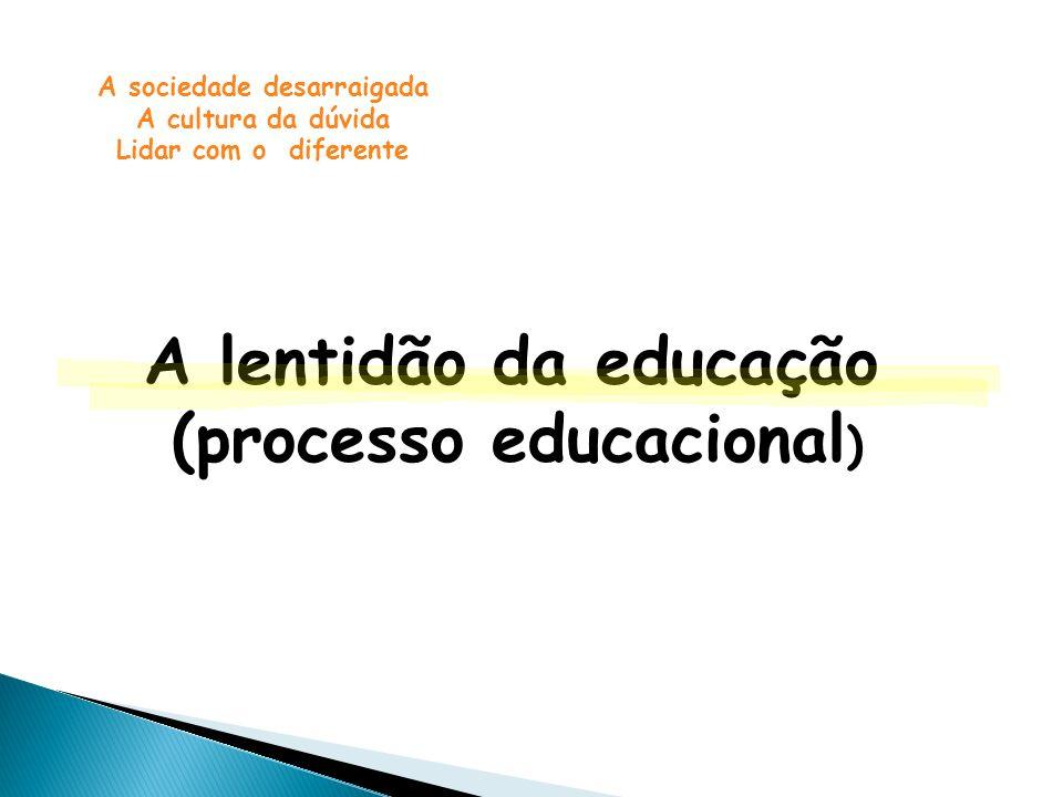 A lentidão da educação (processo educacional ) A sociedade desarraigada A cultura da dúvida Lidar com o diferente