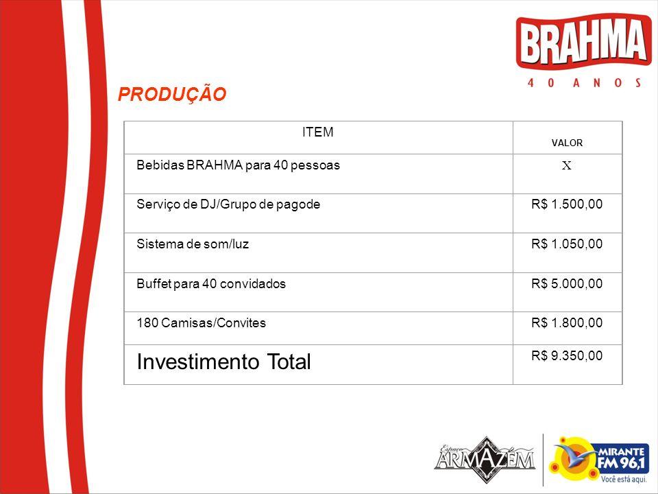 ITEM VALOR Bebidas BRAHMA para 40 pessoas X Serviço de DJ/Grupo de pagode R$ 1.500,00 Sistema de som/luz R$ 1.050,00 Buffet para 40 convidados R$ 5.00