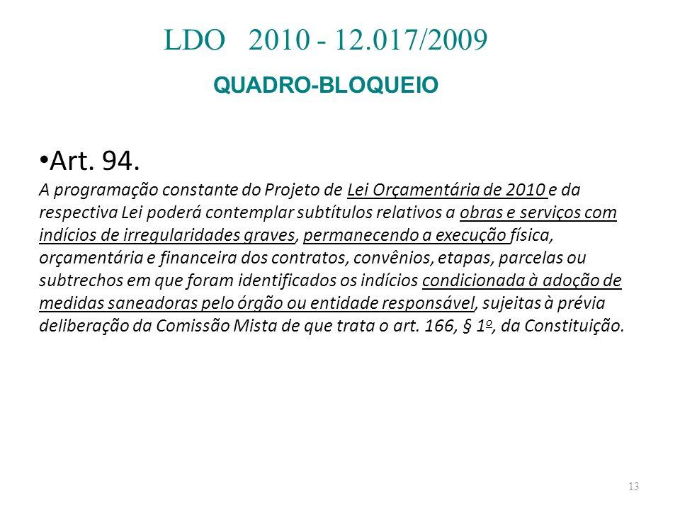 13 Art. 94. A programação constante do Projeto de Lei Orçamentária de 2010 e da respectiva Lei poderá contemplar subtítulos relativos a obras e serviç