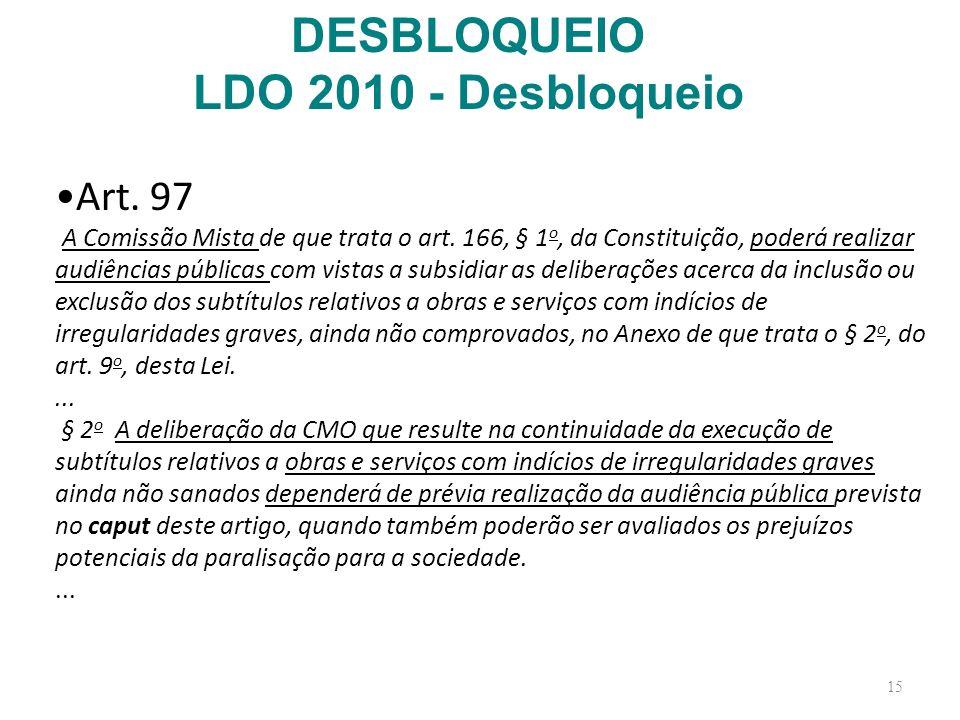 15 Art. 97 A Comissão Mista de que trata o art. 166, § 1 o, da Constituição, poderá realizar audiências públicas com vistas a subsidiar as deliberaçõe