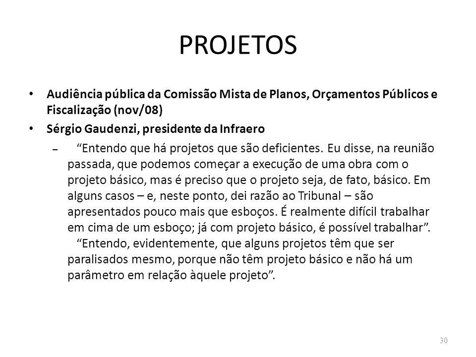 PROJETOS Audiência pública da Comissão Mista de Planos, Orçamentos Públicos e Fiscalização (nov/08) Sérgio Gaudenzi, presidente da Infraero – Entendo