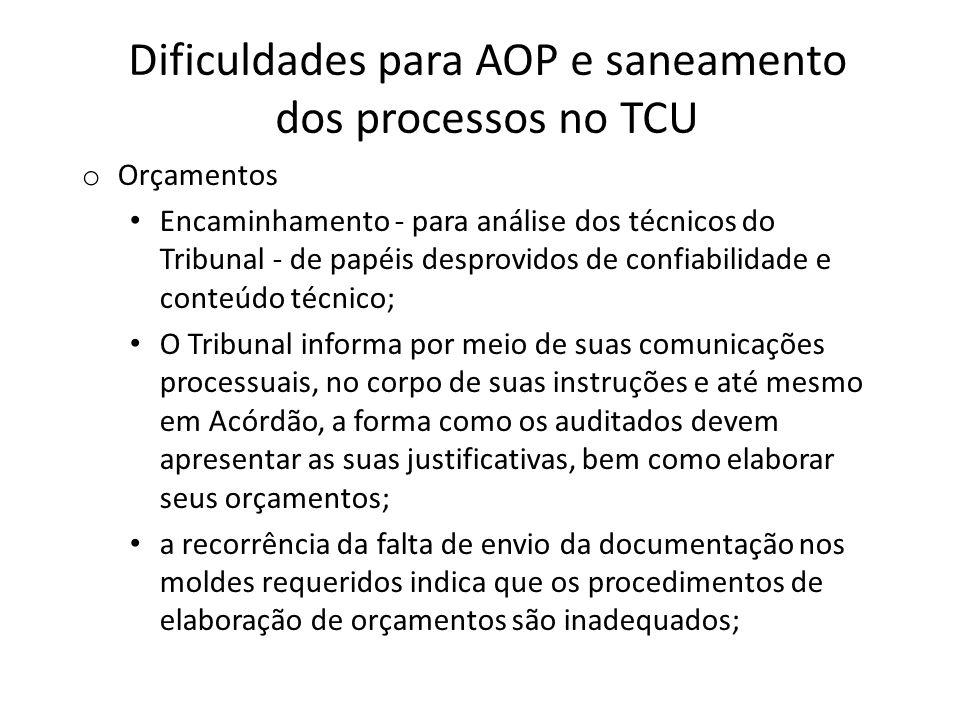 Dificuldades para AOP e saneamento dos processos no TCU o Orçamentos Encaminhamento - para análise dos técnicos do Tribunal - de papéis desprovidos de
