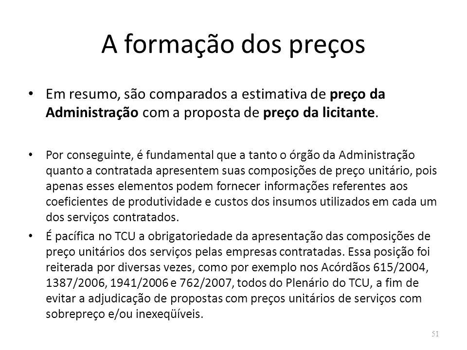 A formação dos preços Em resumo, são comparados a estimativa de preço da Administração com a proposta de preço da licitante. Por conseguinte, é fundam