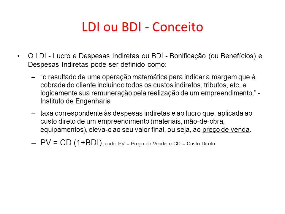 LDI ou BDI - Conceito O LDI - Lucro e Despesas Indiretas ou BDI - Bonificação (ou Benefícios) e Despesas Indiretas pode ser definido como: –o resultad