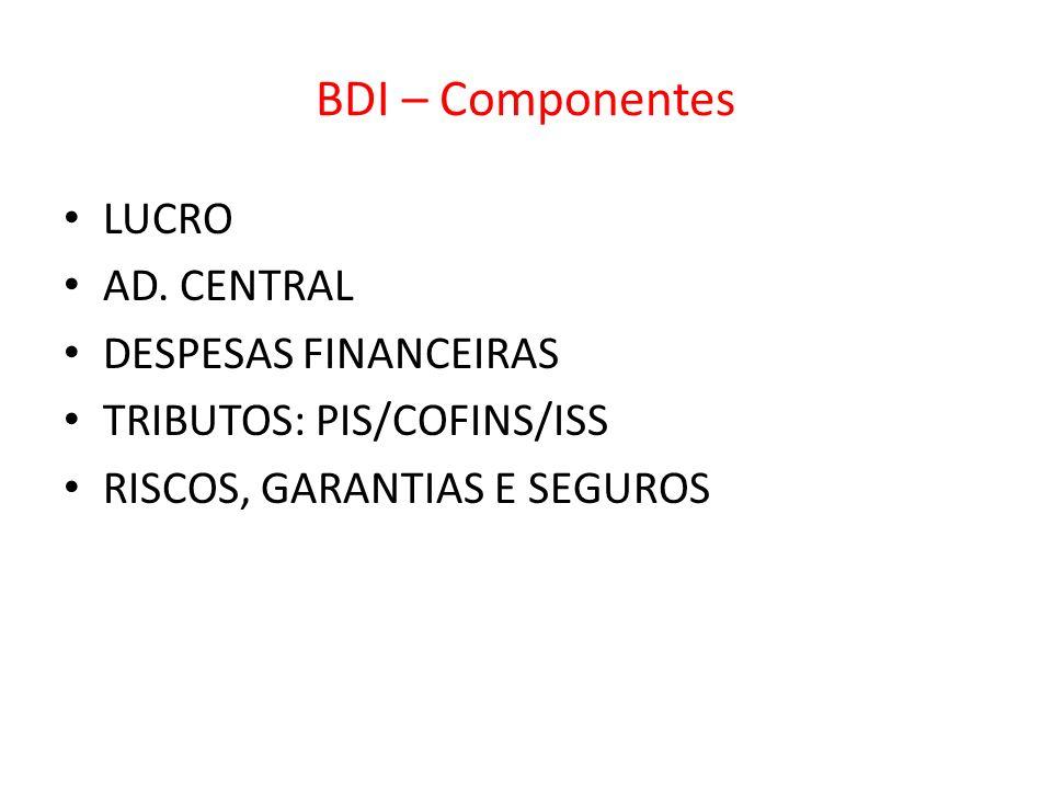BDI – Componentes LUCRO AD. CENTRAL DESPESAS FINANCEIRAS TRIBUTOS: PIS/COFINS/ISS RISCOS, GARANTIAS E SEGUROS