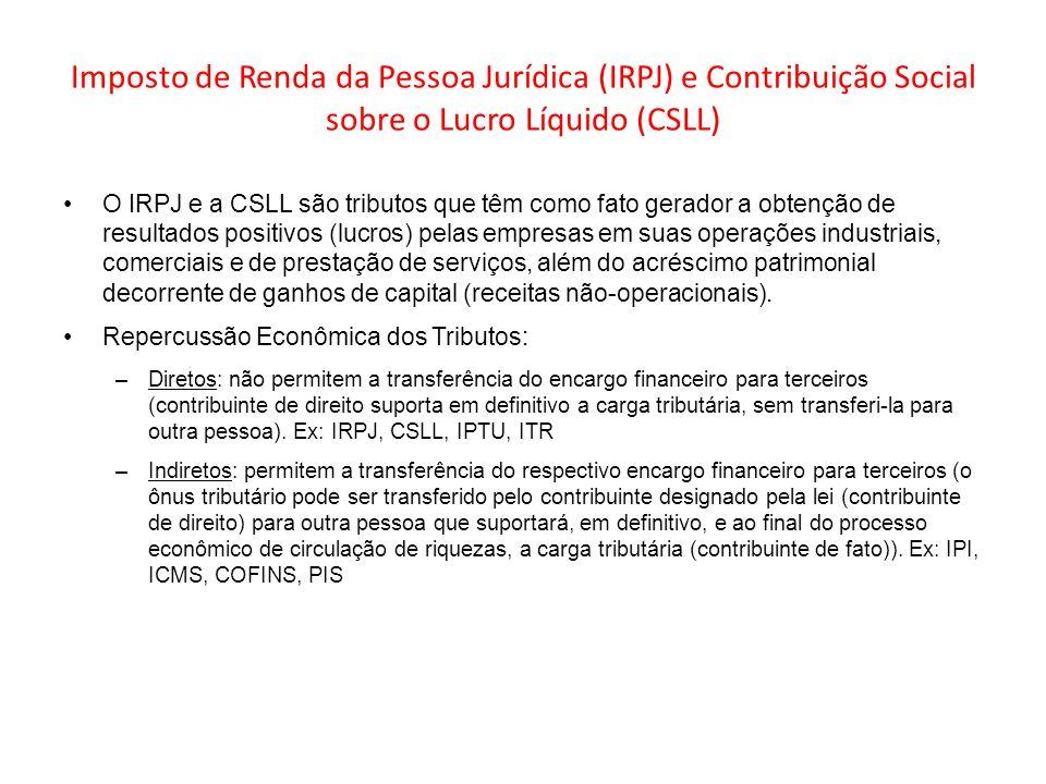 Imposto de Renda da Pessoa Jurídica (IRPJ) e Contribuição Social sobre o Lucro Líquido (CSLL) O IRPJ e a CSLL são tributos que têm como fato gerador a