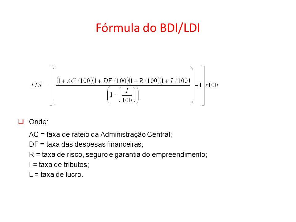 Fórmula do BDI/LDI Onde: AC = taxa de rateio da Administração Central; DF = taxa das despesas financeiras; R = taxa de risco, seguro e garantia do emp