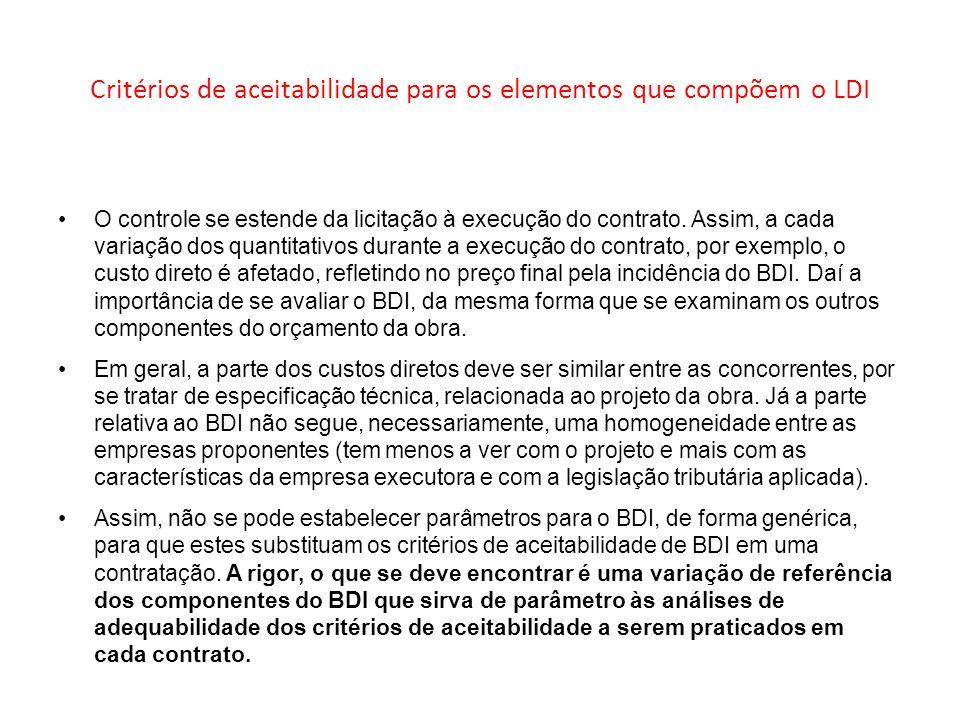 Critérios de aceitabilidade para os elementos que compõem o LDI O controle se estende da licitação à execução do contrato. Assim, a cada variação dos