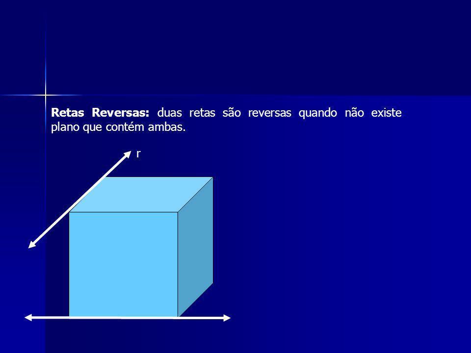 r Retas Reversas: duas retas são reversas quando não existe plano que contém ambas.